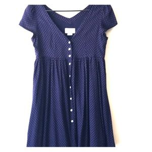 Button Front Short Sleeve Dress Mini Star Print